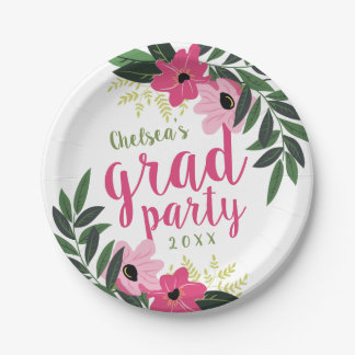 Pink Modern Floral Personalized Grad Party Paper Plate