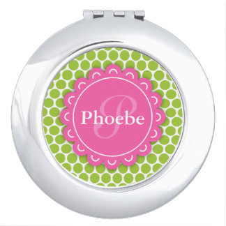 Pink Modern Flower Monogram Lime Green Polka Dots Travel Mirror