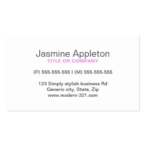 Pink modern generic simple elegant personal business card template
