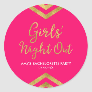 Pink Modern Girls' Night Out Faux Gold Chevron Classic Round Sticker