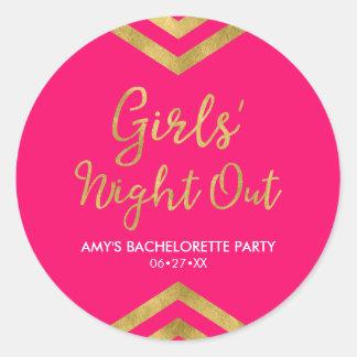 Pink Modern Girls' Night Out Faux Gold Chevron Round Sticker