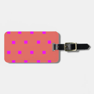 Pink modern squares luggage tag
