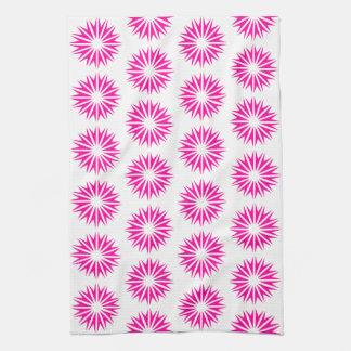 Pink Modern Sunbursts Kitchen Towel