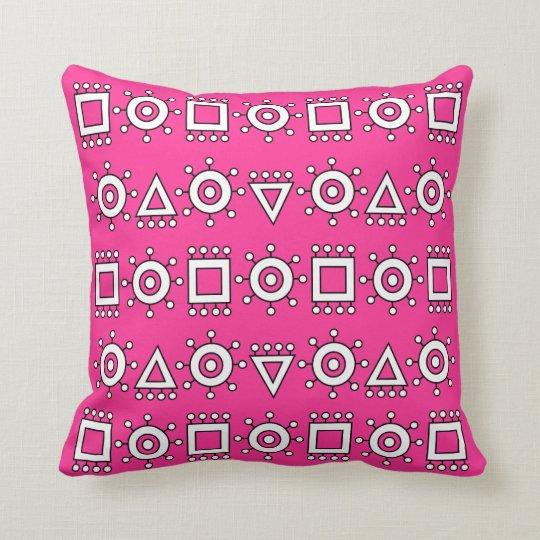 Pink Modern Symbols Throw Pillow