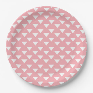 Pink Modern Triangles Paper Party Supply Plate 9 Inch Paper Plate