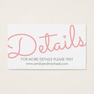 Pink Modern Typography Wedding Details Business Card