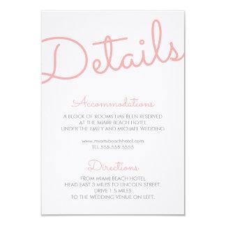 Pink Modern Typography Wedding Details Card