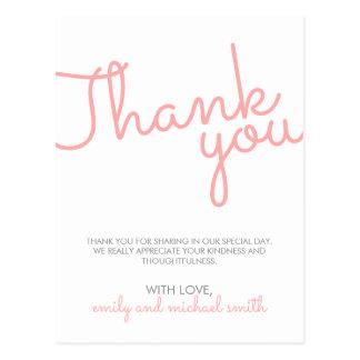 Pink Modern Typography Wedding Thank You Postcard