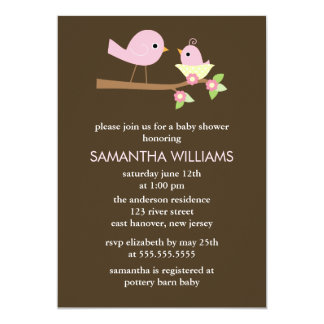 Pink Mom and Baby Birds in a Nest Baby Shower Card