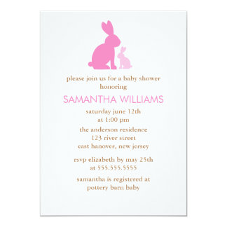 Pink Mom and Baby Rabbit Baby Shower Card