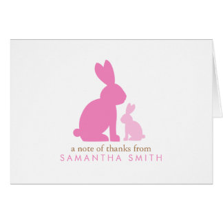 Pink Mom and Baby Rabbits Thank You Notes