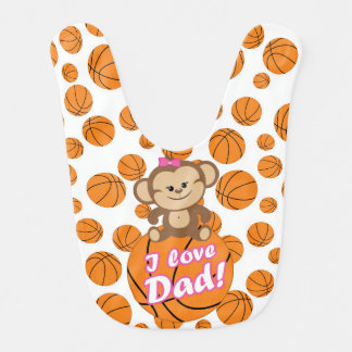 Pink Monkey I Love Dad Basketball Bib