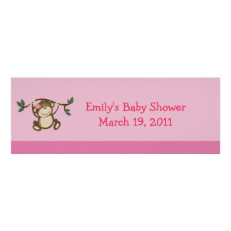 PINK MONKEY PLAY Baby Shower /  Birthday Banner Poster
