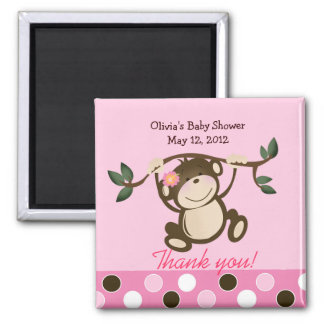 Pink Monkey Play Baby Shower Favor Magnet