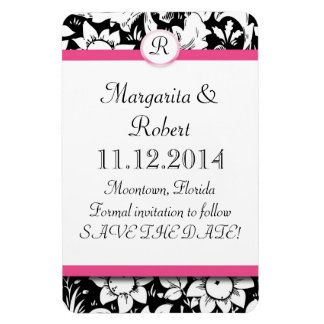 pink monogram damask save the date magnets