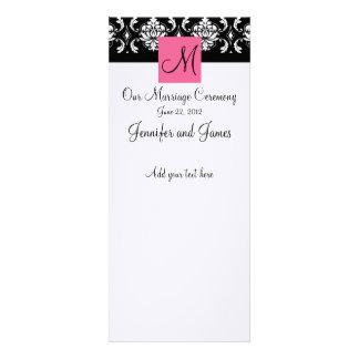 Pink Monogram Damask Wedding Church Program Custom Invites