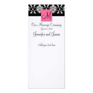 "Pink Monogram Damask Wedding Church Program 4"" X 9.25"" Invitation Card"