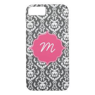 Pink Monogram Dark Grey Damask iPhone 7 Case
