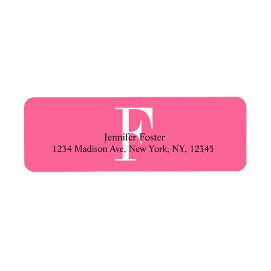 Pink Monogram F Address Labels