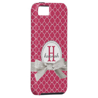 Pink Monogram  Faux Glitter Quatrefoil iPhone 5 Cover