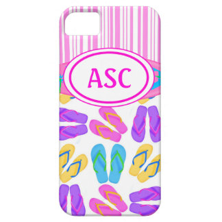 Pink Monogram Flip Flops iPhone 5 Case
