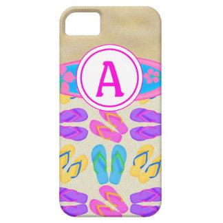 Pink Monogram Flip Flops Surfboard iPhone 5 Case