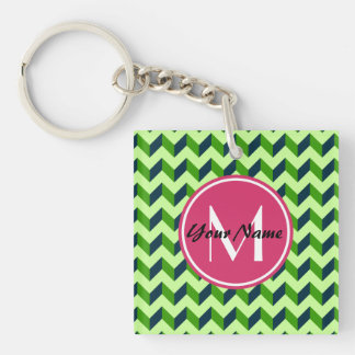 Pink Monogram Green Chevron Patchwork Pattern Double-Sided Square Acrylic Keychain