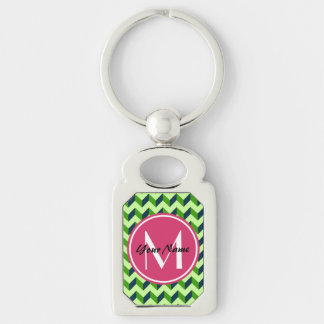 Pink Monogram Green Chevron Patchwork Pattern Silver-Colored Rectangle Keychain