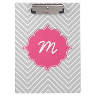 Pink Monogram Grey Thin Chevron Quatrefoil Clipboards