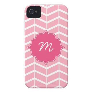 Pink Monogram Herringbone Quatrefoil iPhone 4 Case-Mate Case