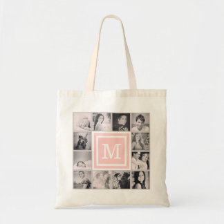 Pink Monogram Instagram Photo Collage Tote Bag