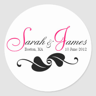 Pink Monogram Names Date Place Wedding Stickers