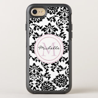 Pink monogram on black damask OtterBox symmetry iPhone 8/7 case