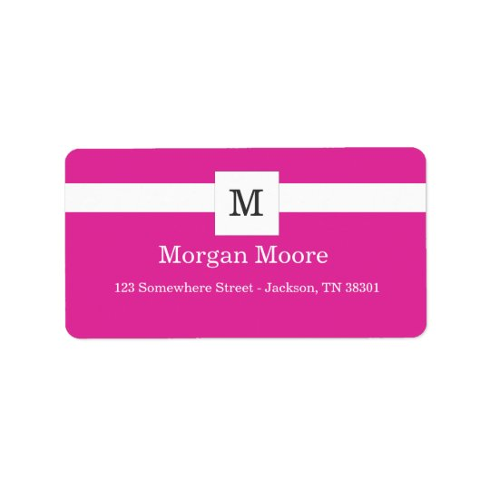 Pink Monogram Style Address Labels
