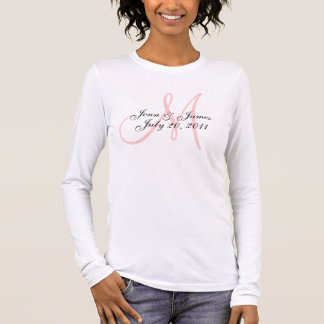 Pink Monogram Wedding Announcement T-Shirt