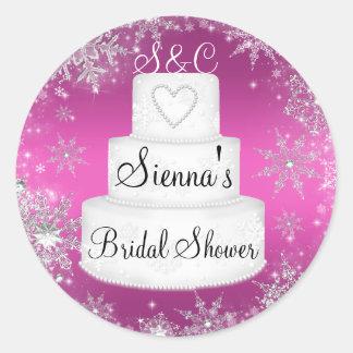 Pink Monogram Wedding Cake Bridal Shower Sticker