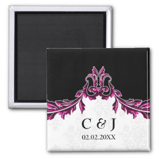 pink monogram wedding save the date magnets