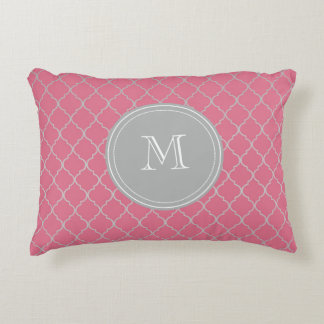 Pink Monogramed Moroccan Decorative Pillow
