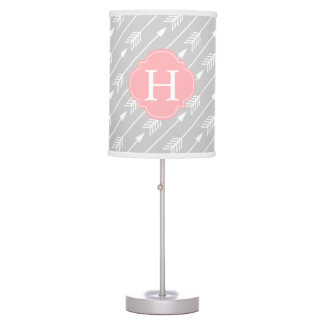 Pink Monogrammed Arrows Pattern Table Lamp