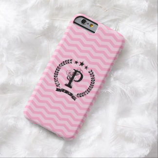 Pink monogrammed chevron pattern iPhone 6 case