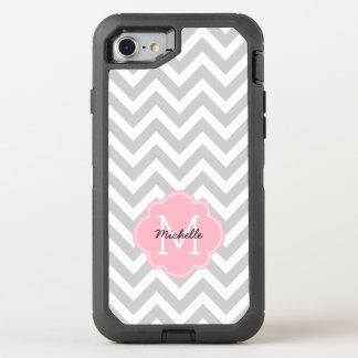 Pink Monogrammed Chevrons Pattern OtterBox Defender iPhone 7 Case