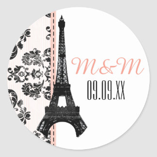 Pink Monogrammed Damask Eiffel Tower Wedding Round Sticker