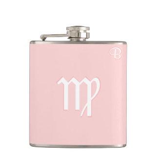Pink Monogrammed Flask - Zodiac - Virgo