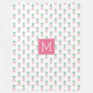 Pink Monogrammed Pineapples Pattern Fleece Blanket