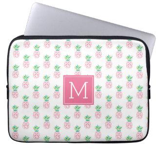 Pink Monogrammed Pineapples Pattern Laptop Sleeve