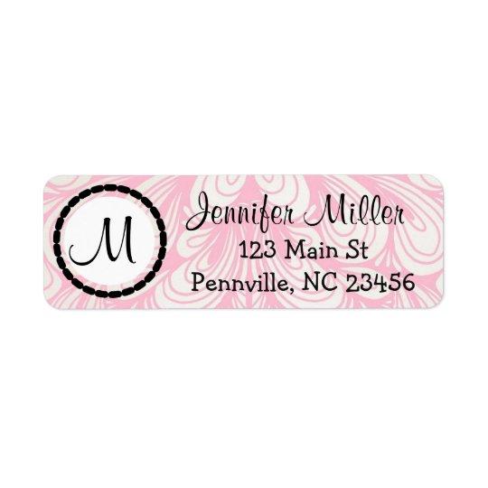 Pink Monogrammed Return Address Labels