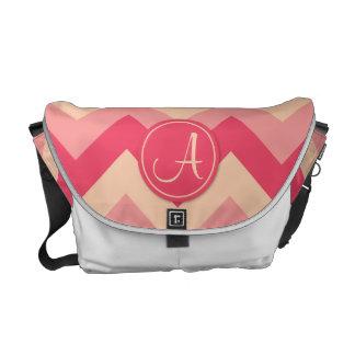 Pink Monogrammed ZigZag Pattern Courier Bag