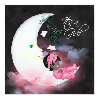 """Pink Moon African American Baby Girl Shower 5.25"""" Square Invitation Card"""