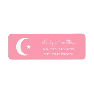Pink Moon And Star Address Label