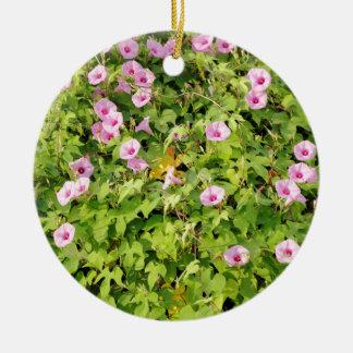 Pink Morning Glories Bush Ceramic Ornament